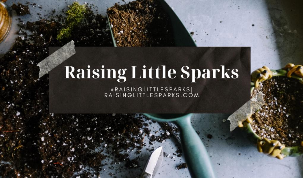Raising Little Sparks Urban Garden Tour Logo. Shovel full of potting soil and other gardening supplies