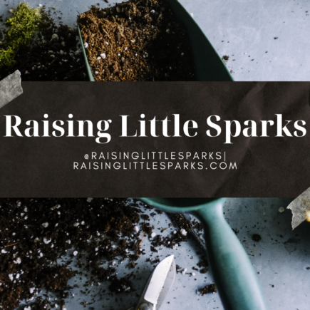 Raising Little Sparks Urban Garden Tour Logo. Shovel full of potting soil and other gardening supplies